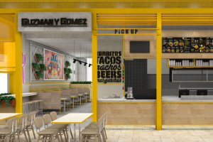 An impression of one of Guzman y Gomez's stores built to cater for online food deliveries.