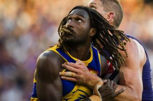 Aaron Sandilands of the Fremantle Dockers and Nic Naitanui of the West Coast Eagles during the Round 6 AFL match between ...