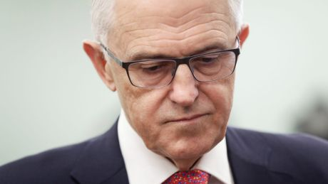 Prime Minister Malcolm Turnbull addresses the media during a doorstop interview after his visit to Canberra business, ...