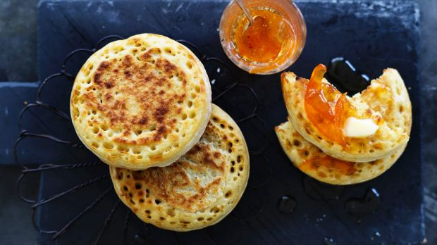 Dan Lepard's easy crumpets and grapefruit and cardamom wholefruit marmalade.