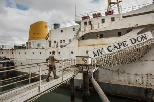 Small museums M V Cape Don which is a floating museum parked at Waverton. The ship?s keeper Daniel Callender. 28th ...