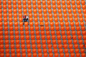 An Egyptian fan seats after the end of the group A match between Egypt and Uruguay at the 2018 soccer World Cup in the ...
