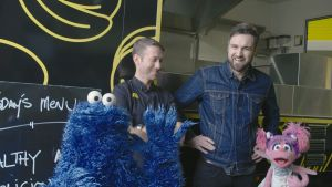Cookie Monster goes food trucking.