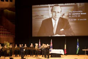 The State Funeral of Sir Laurence Street at the Sydney Opera House.