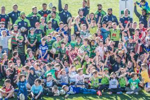 The Raiders NRL Squad take part in the 2018 Play NRL School Holiday Clinic at Raiders headquaters in Bruce.