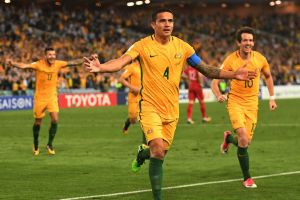 Tim Cahill celebrates after scoring a key 2018 World Cup qualifying goal in extra time against Syria.