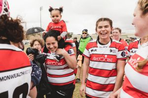Women's Canberra rugby union grand final: Uni-Norths Owls vs Tuggeranong ViQueens. ViQueens celebrate their win. Photo: ...