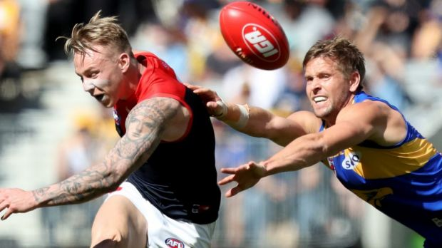 Melbourne tagger James Harmes, during the club's round 22 win, will likely tag Elliot Yeo on Saturday.