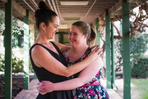 Performers, Liz Lea and Katie Senior, at this year's TEDx, dancing about living with Down Syndrome at Gorman House. ...
