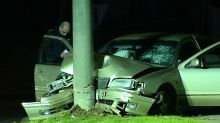 Stolen car crashes into pole in Hampton Park, leaving teenager fighting for life. Picture: ABC News.