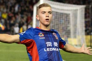 Riley McGree celebrates his goal during the A-League Final between Newcastle Jets and Melbourne City at McDonald Jones ...