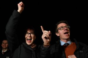 Dr Joe McGirr and his wife Kerin Fielding celebrate what looks to be a victory in the Wagga Byelection Photo Nick Moir 8 ...