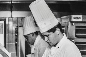 Christopher Collier, apprentice chef at the Hyatt hotel competes in the 1991 ACT apprenctice cook of the year .
