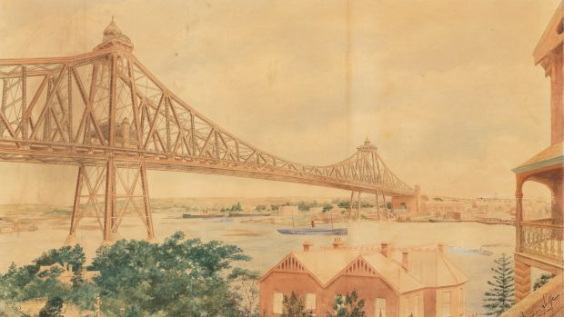 A Proposed Sydney Harbour Bridge, ca.1903 / design drawing by Norman Selfe.