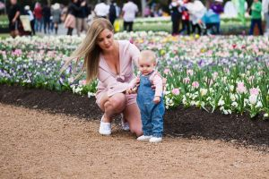 Jess Kunkel and Lyla Corcoran 6 months at Floriade
