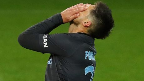 Bruno Fornaroli misses his penalty kick for Melbourne City in the FFA Cup quarter-final.