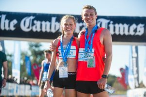 Canberra Times Fun Run 2018. Women's and Men's 1st place in the 10km run siblings Stephanie Torley and Josh Torley.  ...