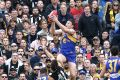 Jeremy McGovern's late mark that helped get the ball forward for Dom Sheed to goal.