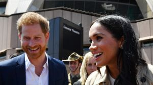 Prince Harry and his wife Meghan meet the people of Sydney at the Opera House on Tuesday.