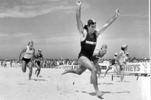 Gary Theodore, of Freshwater, at the finish of the Curl Curl 1000. January 04, 1986.