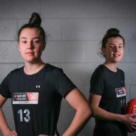 Identical twins Chloe (left) and Libby Haines, who are ready to take on the AFLW.