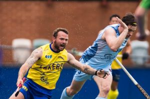Australian Hockey League Canberra Lakers Vs NSW Waratahs 20th of October 2018. Canberra's Garry Backhus falls over. ...