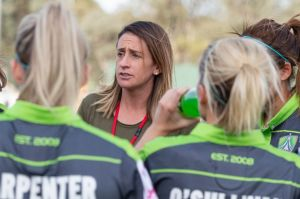 Canberra United coach Heather Garriock speaks to her team after they gave up a 4-1 lead to draw 4-4 with Perth Glory on ...