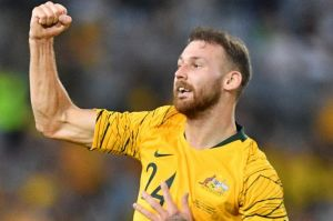Martin Boyle (left) of Australia reacts after scoring against Lebanon during the International friendly match between ...