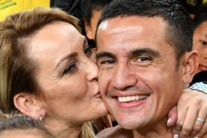 Hero: Tim Cahill enjoys his moment in the spotlight with his family ahead of a well-earned holiday.