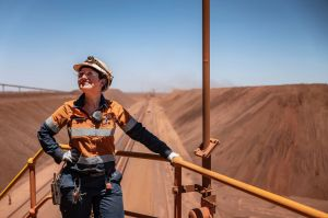 Nicole O'Keefe at the BHP Jimblebar reclaimer in the north west of Western Australia. . Photo by Tony McDonough