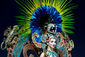 Miss Mexico Andrea Toscano displays her costume during Miss Universe National Costume Show in Chon Buri, Thailand.