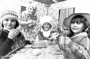 24th April 1979. Joanne Wilson, left, Suzanne Cullen, Evelyn Schneider and Nicole Wiggins, all aged 5, create a kitchen ...