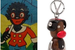 An image showing the Prada keyring that has been removed from sale, and Little black sambo. Photo: Instagram/Diet Prada