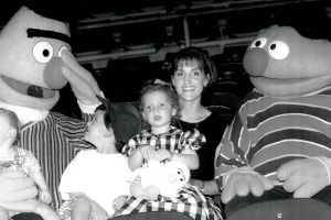 7th Febraury 1997. Sarah O'Halloran and her children Harry, Sam, and Chloe with Sesame Street characters Bert and Ernie.