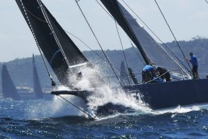 Blackjack took the lead out of the Harbour Sydney to Hobart Yacht Race start Photo Nick Moir 26 dec 2018
