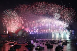 The New Years Eve Midnight fireworks as seen from Ms Macquarie's Chair in Sydney on New Years Eve on January 1, 2019. ...