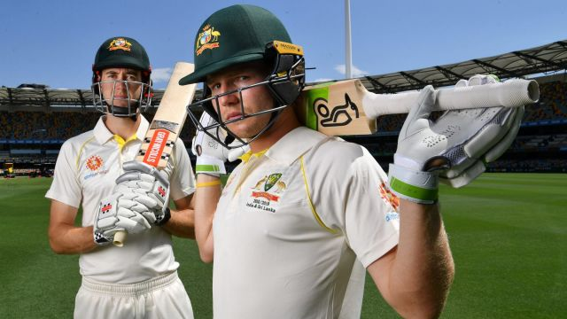 Out and in: Will Pucovski and Kurtis Patterson at the Gabba on Wednesday. Only the latter will make his Test debut ...