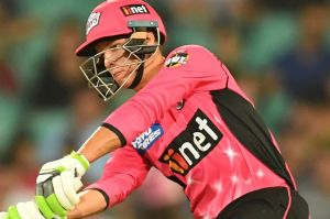 Cop that! Sixers opener Josh Philippe whacks a delivery over cover for six at the SCG on Wednesday night.