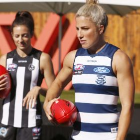 Geelong's Melissa Hickey (right) is looking forward to her first home game for her new team.