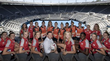 First glance: NSW Swifts and Giants Netball players check out the soon-to-be-refurbished Olympic Park Tennis Centre with ...