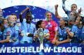 Champions: Sydney FC celebrate their win over the Glory in the W-League grand final at Jubilee Stadium.