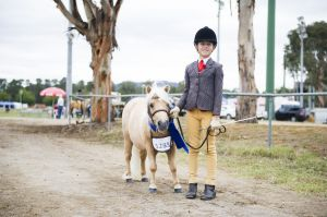 Hallie Halpin-Bishop is pleased to have won a Shetland Pony competition with her pony Casper at this year's Canberra Show.