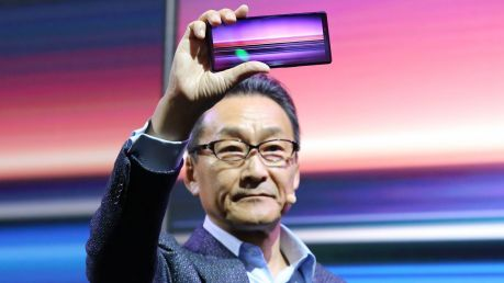 Global Sony Mobile president Mitsuya Kishida holds the new Xperia 1. Like the last two Xperia flagships, it will not ...