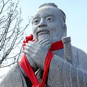 Kong Qingdong of Peking University traces his lineage to Confucius (statue above).