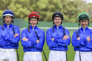 Boys in blue: Hugh Bowman, James McDonald, Tommy Berry and Kerrin McEvoy will ride Godolphin's leading chances in the ...