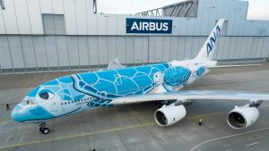ANA All Nippon Airways' first Airbus A380 superjumbo.