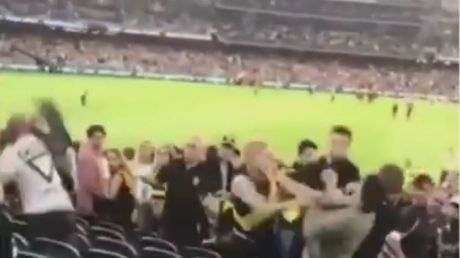 The brawl erupted at the MCG during the first game of the season.
