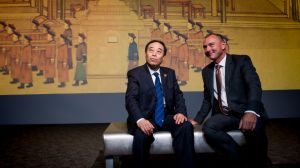 Deputy director of the National Museum of China Shan Wei with NNA director Dr Mathew Trinca at the launch of <i>The ...