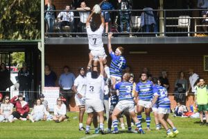 Ryan Jones catches the line out for Queanbeyan.