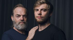 Hugo Weaving and his son Harry Greenwood, who are performing together in the Sydney Theatre Company's Cat on a Hot Tin Roof.